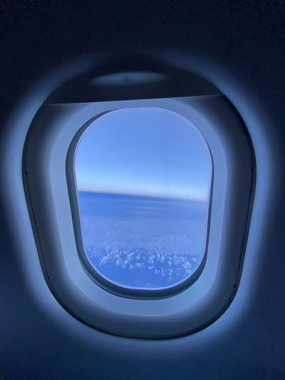 Sea seen through airplane window