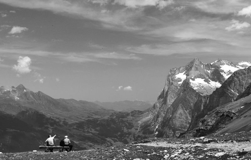 Talking, 2014 Beauty In Nature Cloud - Sky Day Eiger Trail Eigerwand Grindelwald Hiking Landscape Mountain Mountain Range Nature Outdoors Relax Scenics Sky Switzerland Talking Travel Destinations Trekking Two People Vacations Live For The Story Place Of Heart Breathing Space