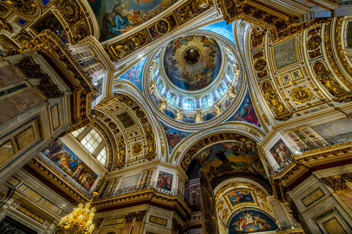 Isaakskathedrale, Sankt Petersburgs Sankt Petersburgs Architecture Blue Built Structure Cathedral Ceiling Day Fresco Gold HDR Indoors  Isaac's Cathedral Isaakskathedrale Low Angle View No People Ornate Place Of Worship Religion Russia Spirituality St. Petersburg Travel Destinations Ultra Wide Angle Wide Angle