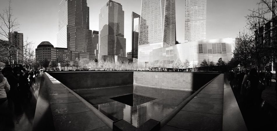 Ground Zero, NYC WTC Memorial New York Blackandwhite Nine Eleven Busy Mirroreffect In Honor Of Peace Fountain USA America Mirror