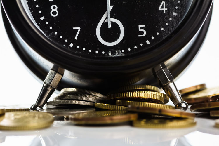 clock and coin isolated on white Business Currency Economy Growth Hour Plan Stack Alarm Bank Banking Clock Coins Concept Exchange Finance Financial Investment Money Payment Profit Save Saving Time Timer Wealth