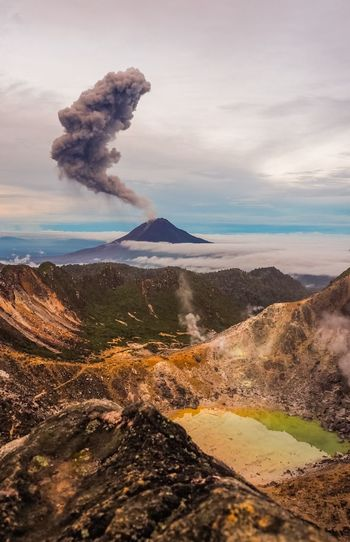 Gunung Sinabung Volcano eruptions INDONESIA Medan Sinabung Active Volcano Beauty In Nature Dawn Day Erupting Eruption Fog Geology Gunung Landscape Mist Mountain Nature No People Outdoors Physical Geography Power In Nature Scenics Sky Smoke - Physical Structure Steam Volcanic Crater Volcanic Landscape Volcano
