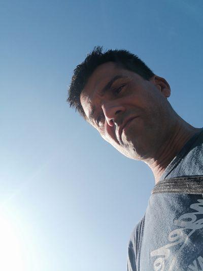 Sportsman Athlete Clear Sky Portrait Headshot Men Sport Sky Close-up