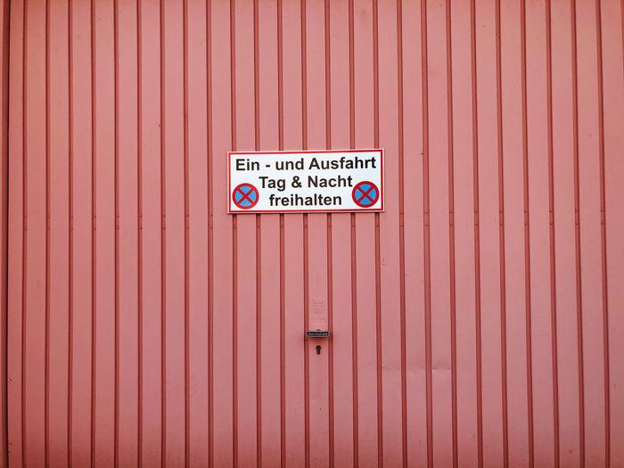 Information sign on closed door
