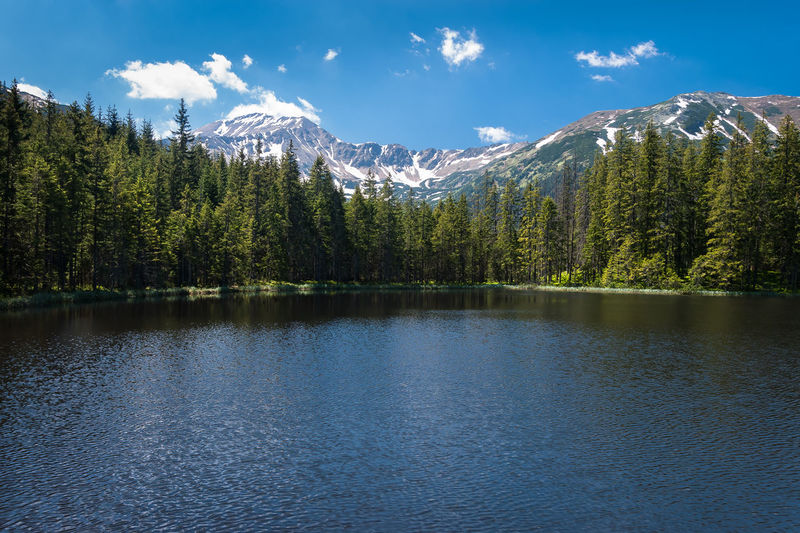 a quaint mountain lake on a summer day Beauty In Nature Blue Sky Day EyeEmNewHere Forest Green Color Hiking Idyllic Lake Mountain Mountain Range Mountains Nature No People Outdoors Reflection Scenics Sky Snow Summer Tranquil Scene Tranquility Tree Water Waterfront The Great Outdoors - 2017 EyeEm Awards