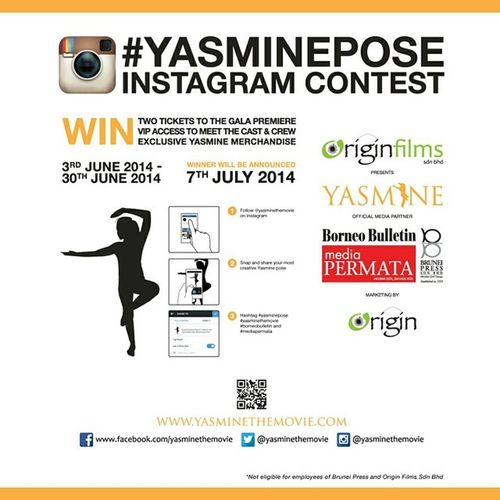 WIN two tickets to the gala premiere of YASMINE together with VIP passes to meet the cast & crew AND exclusive YASMINE mechandise! All you need to do is follow @yasminethemovie, snap and share your most creative YASMINE pose, and hashtag Yasminepose YasmineTheMovie Borneobulletin and Mediapermata . That's all! GOOD LUCK! Brunei HappeningsBN wearehappybrunei happybrunei