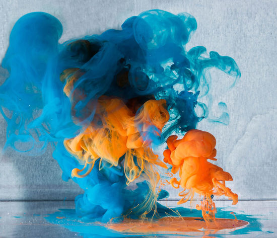Abstract Art ArtWork Blue Close-up Cloud Clouds Cloudy Day Dissolving Explosion Explosion Of Color Explosion Of Colors Indoors  Ink Motion Multi Colored No People Orange Color Silver  Volcano Water