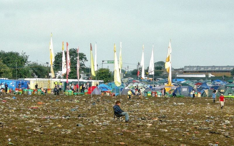 Lonely fan at Glastonbury Taking Photos Relaxation Music Festival Glastonbury Festival Litter On Your Own Musicf Fan