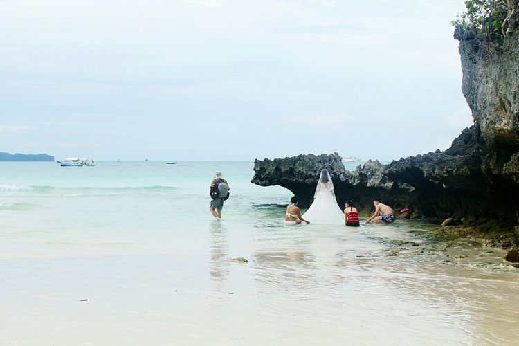 Wedding Bride Travel Journey Adventure Beach Water Two People Adult Adults Only People Full Length Outdoors Nature Sea Real People Leisure Activity Lifestyles Beauty In Nature Scenics Vacations Women Horizon Over Water EyeEm Ready   An Eye For Travel
