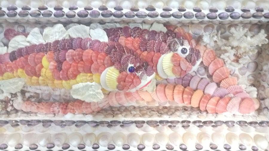 This fish is made from seashells. No People Close-up Animal Themes ArtWork Seashellart Seashell Collection Art Deco Seashell Art Seashell❤ Pattern Art, Drawing, Creativity