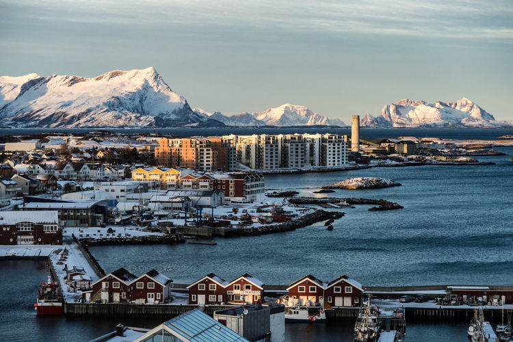 Architecture Beauty In Nature Bodø Building Exterior Built Structure City Cityscape Cold Temperature Evening House Mountain Mountain Range Nature North Norway Outdoors Residential Building Scenics Sea Sky Snow Travel Destinations Water Waterfront Perspectives On Nature