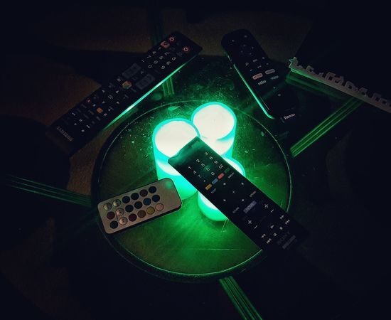 Showcase: February Remote Controls Coffee Table Note Book Artificial Light Green Green Green!  Light In The Darkness Home Interior Homedecor Interior Design