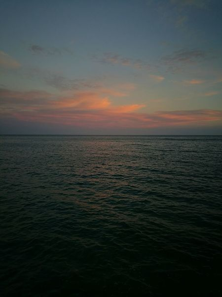 Sunset Landscpape Pinkclouds Pinkwater Sea Blue Sky Holiday