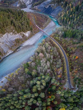 High Angle View Day Nature Water No People Outdoors Plant Growth Aerial View Beauty In Nature Scenics Landscape Tree Grass Freshness Train Railway Railway Track Hikingadventures Hiking Trail Drone  Transportation Switzerland Mountain Perspectives On Nature