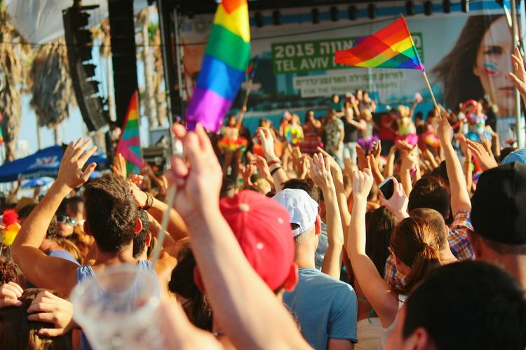 Crowd at gay pride celebration