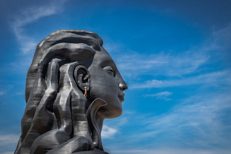 Adiyogi lord shiva statue from unique different angles