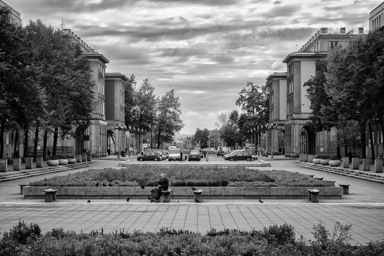 Architecture Cloud - Sky Day Human Being Krakow Lonely Lost Nowa Huta Old Park Sitting Sky Socialism Woman