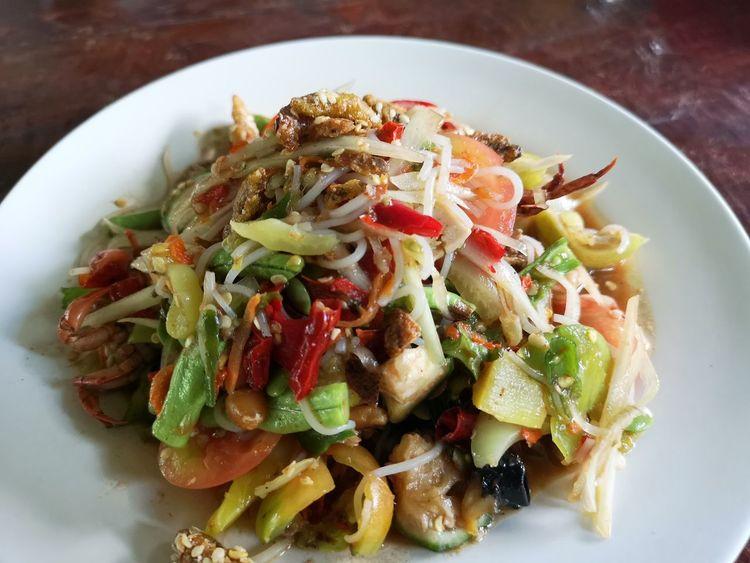 Thai Food Thai Food -style Papaya Salad Papaya Pok Pok Somtum Somtum Pu-plarha Plate High Angle View Close-up Food And Drink The Great Outdoors - 2018 EyeEm Awards EyeEmNewHere