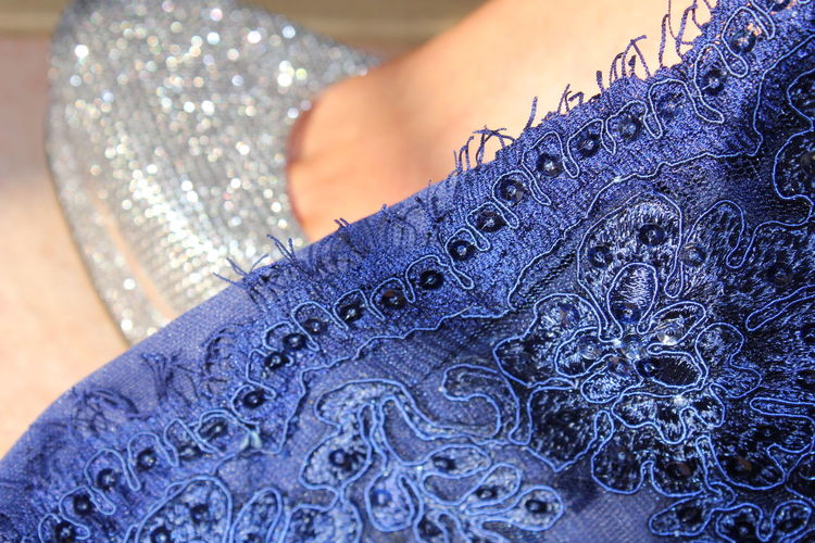Fashion focus Textile Blue Pattern Close-up Lifestyles Clothing Selective Focus Fashion Women Floral Pattern Focus On Foreground Embroidery