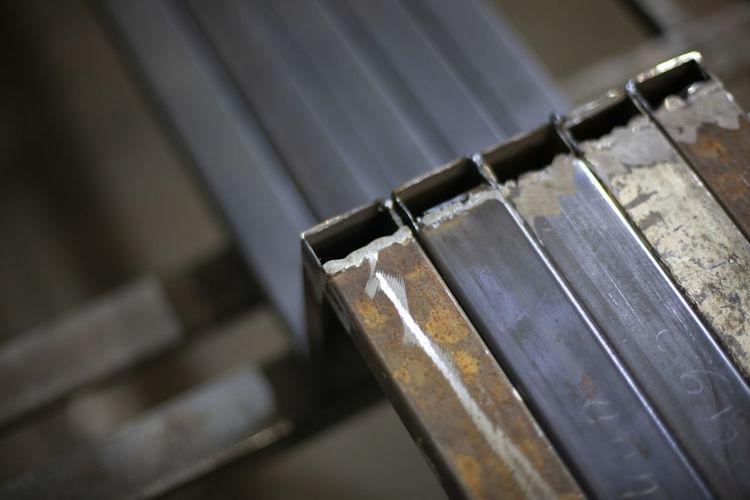 High angle view of piano keys on table