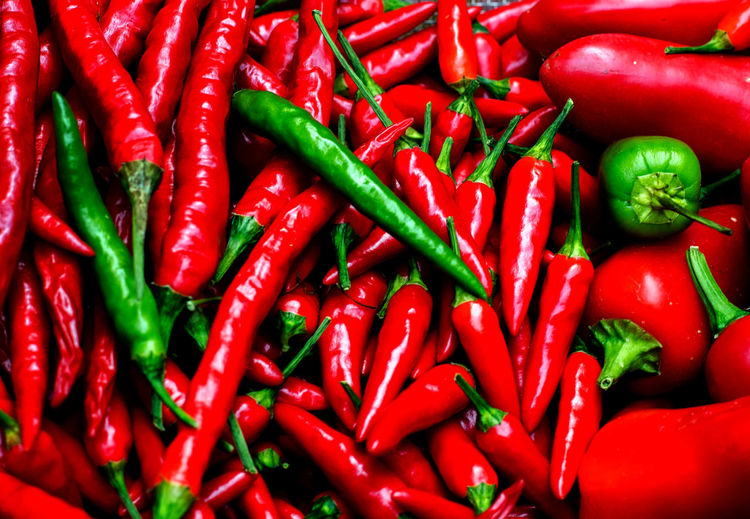 Full Frame Shot Of Chili Peppers For Sale At Market