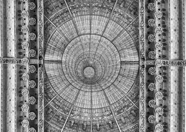 BARCELONA - AUGUST 8: Stained-glass skylight of Palau de la Musica Catalana, modernist Concert Hall designed by the architect Lluis Domenech i Montaner in Barcelona, Catalonia, Spain, August 8, 2017 Pattern Shape Circle Geometric Shape Design No People Backgrounds Full Frame Architecture Ceiling Built Structure Directly Below Close-up Indoors  Ornate Day Textured  Creativity Art And Craft Metal Concentric Architecture And Art