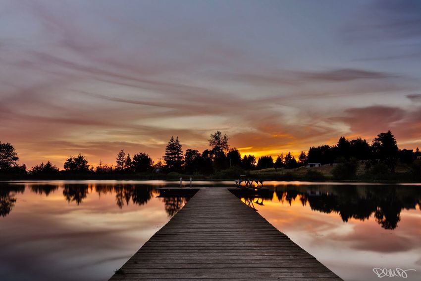 """""""Serenity"""" Lake Sunset Water Cloud - Sky Sky Beauty In Nature Reflection Lake Nature Pier Scenics Tranquil Scene No People Tranquility Day Robert DuVernet Photography"""