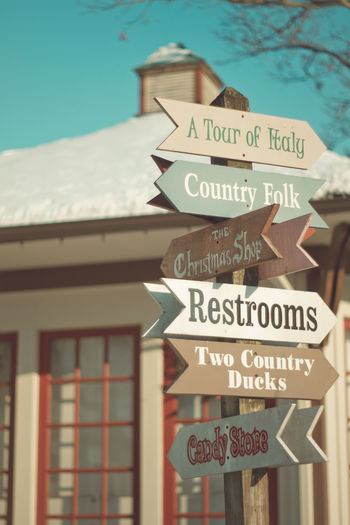 Christmas Shopping DIY Stuff Vintage Look Vintage Style Winter Winter Outside,summer Inside Architecture Building Exterior Close-up Communication Craft Beer Day Guidance No People Outdoors Sky Snow Text Vintage Western Script Wooden Sign Wooden Signs