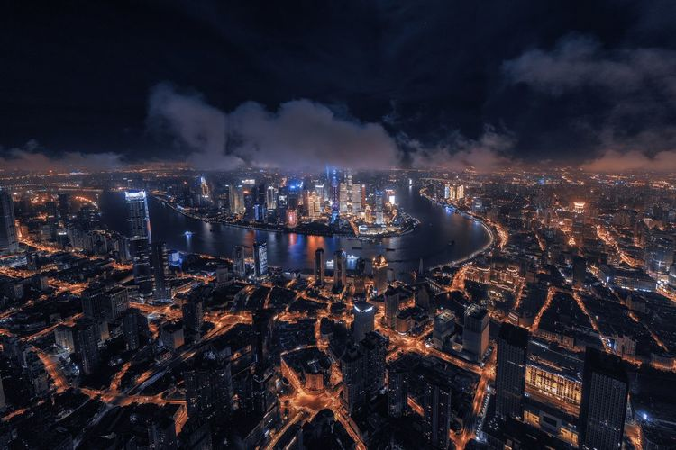 shanghsi skyline view at night Shanghai Lujiazui Huangpu River Evening Night Illuminated Building Exterior City Cityscape Architecture Built Structure Sky Building Cloud - Sky Crowded Crowd City Life Lighting Equipment Modern Office Building Exterior Outdoors Motion Glowing