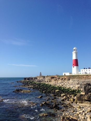Portland Bill Blue Sky Summer Lighthouse Sea Cliff