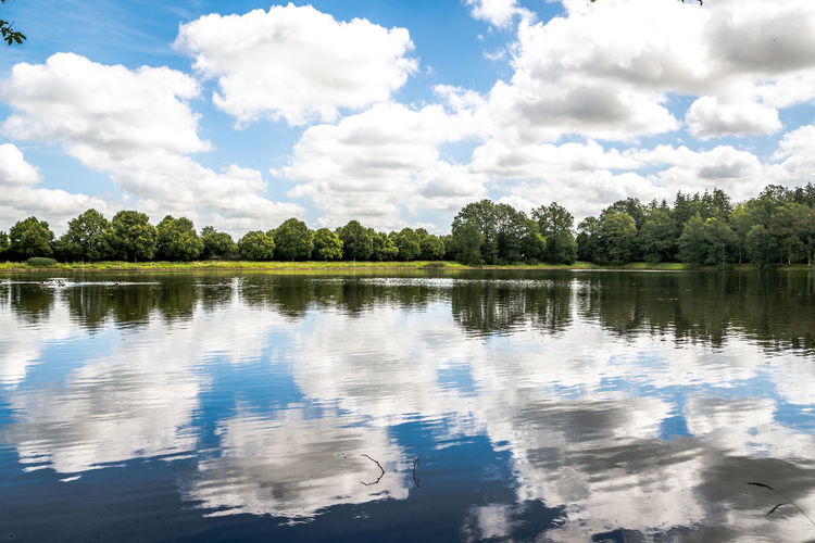 Beauty In Nature Cloud - Sky Day Growth Idyllic Lake Nature No People Non-urban Scene Outdoors Plant Reflection Scenics - Nature Sky Tranquil Scene Tranquility Tree Water Waterfront