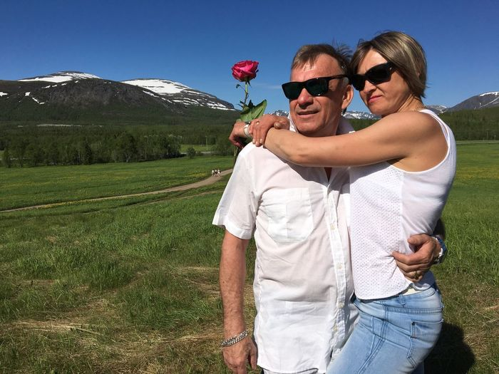 He and she Two People Sunglasses Sky Nature Mountain Landscape People Northern Country Love Women Man Clouds