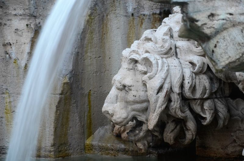 Detail Of Lion Sculpture At Fountain