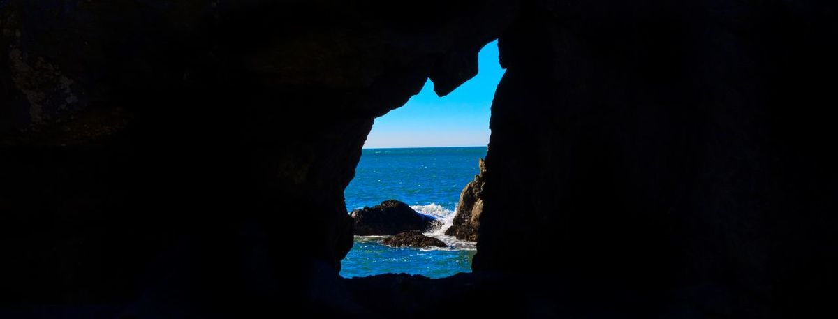 Beauty In Nature Cave Day Horizon Over Water Nature Outdoors Rock - Object Scenics Sea Silhouette Sky Water EyeEmNewHere