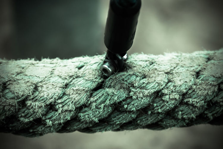 Detail shot of rope against blurred background
