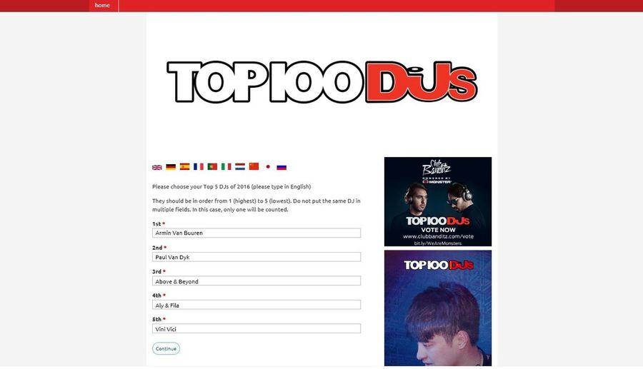 MY Votes For DJ MAG Top 100 Djs of 2016 : 1. Armin Van Buuren  AvB ☝ 2. Paul Van Dyk -PvD- 3. Above & Beyond \A&B/ 4. Aly & Fila /FSOE\ 5. Vini Vici .vV/ AvB PVD Ab Aly & Fila Vini Vici Vote Here —> https://top100djsvote.djmag.com/