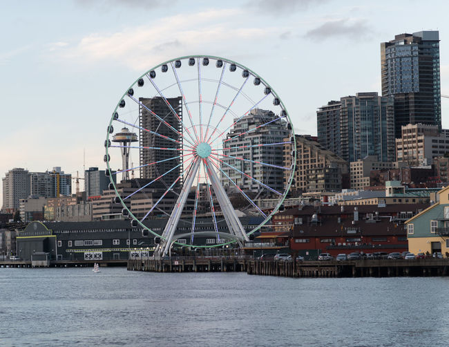 Cityscape Downtown Elliott Bay Low Angle View Pacific Northwest  Seattle Seattle Skyline Seattle, Washington Space Needle Architecture Big Wheel Building Exterior Built Structure City Cityscape Day Ferris Wheel Full Frame No People Outdoors Seattle Space Needle Sky Skyscraper Water Waterfront The Graphic City Colour Your Horizn