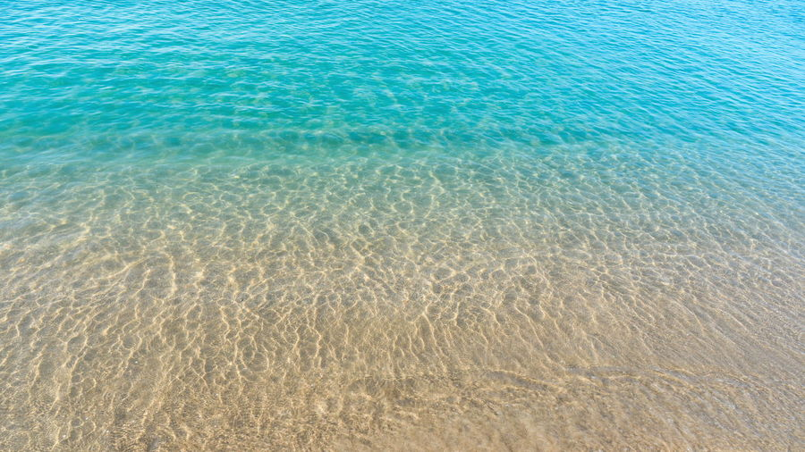 Sea Water Tranquility Sand Beauty In Nature Land Nature Tranquil Scene Scenics - Nature Blue Rippled Beach Day Full Frame Underwater Backgrounds Outdoors Transparent UnderSea Marine At The Bottom Of Turquoise Colored Clean Shallow Waves