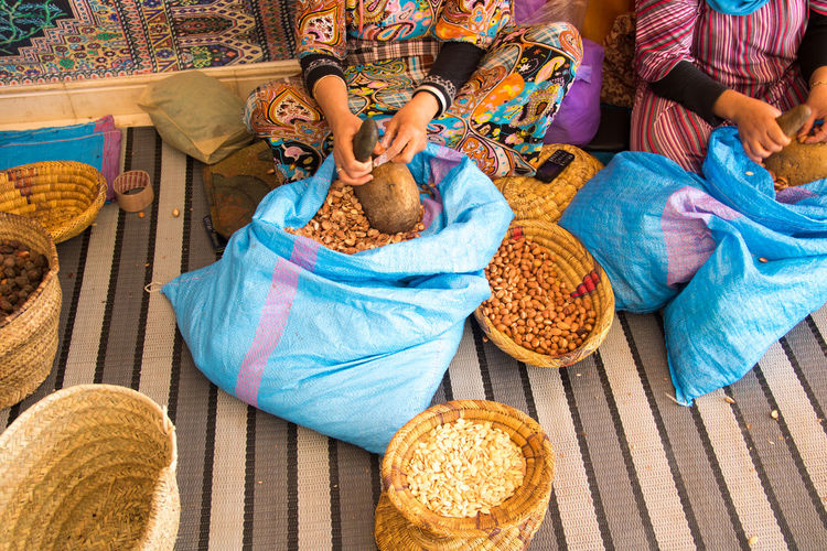 High angle view of woman holding food at market