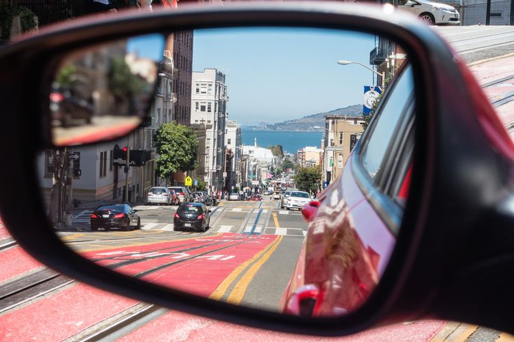 Mode Of Transportation Transportation Land Vehicle Motor Vehicle Car City Road Architecture Built Structure Street Building Exterior Day Nature Side-view Mirror Sky No People Mirror Traffic Symbol City Life Vehicle Mirror
