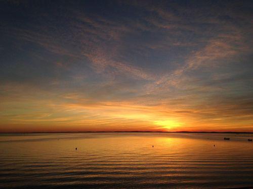 Calm Relaxing Sunset Nature Zen Orange Water Waves, Ocean, Nature Pink Rose