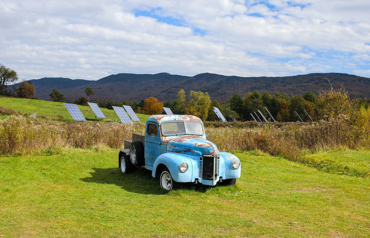 Future's past. Antique Car Envision The Future Future Landscape Landscape_Collection Mountain Range Past Present Rural Scene Scenics Solar Energy Solar Panels Technology