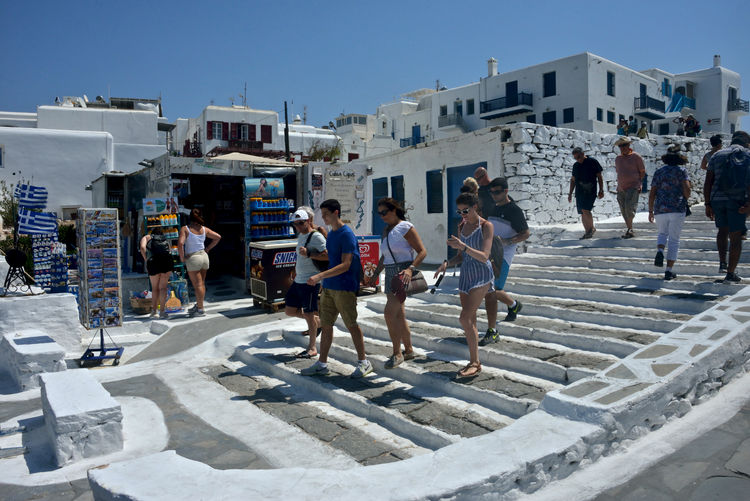 view of Little Venice in Mykonos with people walking around Architecture Building Exterior Group Of People Built Structure Men Real People City Women Building Day Sunlight Crowd Large Group Of People Lifestyles Nature Leisure Activity Sky Adult Group Outdoors Mykonos,Greece Walking Around Tourists Walking Little Venice Mykonos Greece Greek Architecture Summertime Souvenirs/Gift Shop Shopping