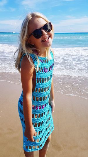 Smile Tunica Summertime Autumn Blue Sunglasses Travel Travel Destinations EyeEm Selects Water Child Sea Beach Childhood Portrait Girls Smiling Sand Summer Wave Beach Holiday Sunbathing Tan Bikini A New Beginning 50 Ways Of Seeing: Gratitude This Is Natural Beauty Exploring Fun