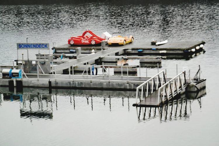 ... und bin ich nicht hier, bin ich auf dem Sonnendeck. Edersee Germany Edersee Sperrmauer Winter Wintertime My Point Of View Sonnendeck Water Nautical Vessel Sea Reflection Pedal Boat Diving Platform Floating On Water Waterfront Boat