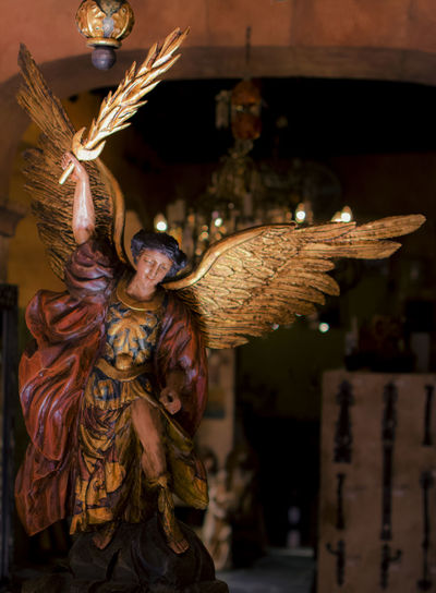 Vintage Gallery in San Miguel de Allende. A very common religious icon, Archangel Michael Art And Craft Artgallery Close-up Focus On Foreground Gold Colored Indoors  Nikonphotographer Photoart Photoartist Religious Art Religious Iconography Sculpture Statue Vintageartsandcrafts
