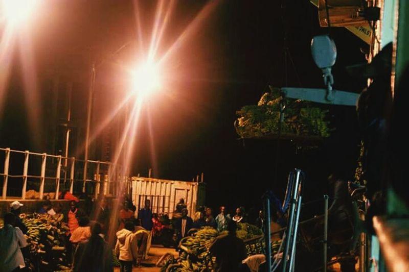Kemondo, Tanzania Loading Cargo Boat Crane Bananas Night Time Night Travel Night Photography Night Lights.
