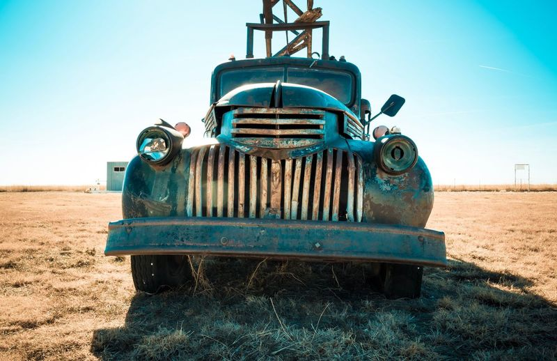 EyeEm Selects Clear Sky Abandoned Damaged Rusty Obsolete Metal No People Outdoors Field Run-down Mode Of Transport Transportation Land Vehicle Close-up Sky Day