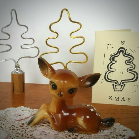 Getting ready is the best bit of. How You Celebrate Holidays Desks From Above Christmas Card Deer Doe Reindeer Animal Vintage Decor Kitsch Xmas Tree Trees Gold Silver  Printmaking Handmade Christmas Decorations Christmas Tree Christmas Time Craft Interior Design Interior Photo Shoot Product Photography Still Life Vintage
