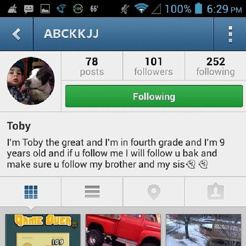 Follow this weird 9 yr old @abckjj Wtfdokidshaveig
